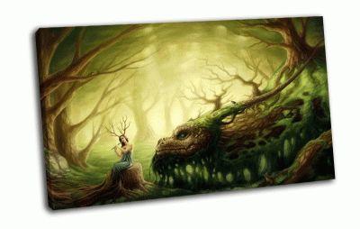 Картина лес  дракон