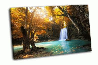 Картина лесной водопад в канчанабури