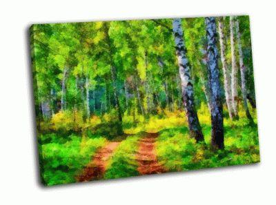 Картина летний пейзаж в лесу