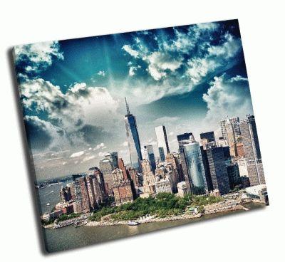 Картина летний закат на нижнем манхэттене