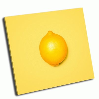 Картина лимон на желтом фоне