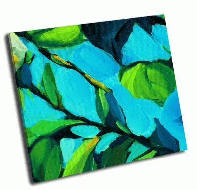 Картина листья на фоне голубого неба
