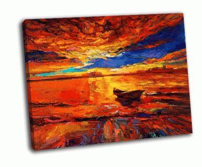 Картина лодка и море на холсте