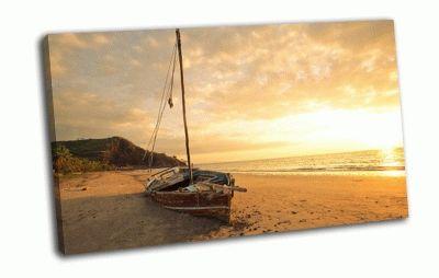 Картина лодка, море, пляж