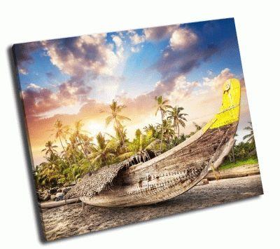 Картина лодка рыбака на пляже в индии