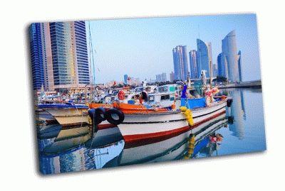 Картина лодки на хэундэ, корея