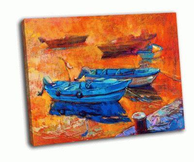 Картина лодки на холсте