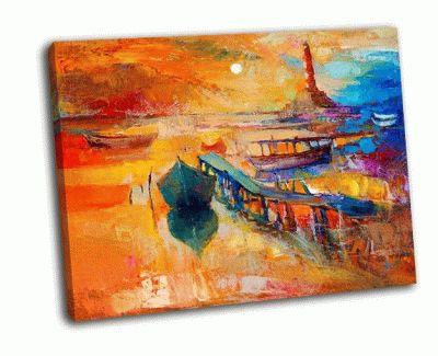 Картина лодки, пристань и маяк на холсте