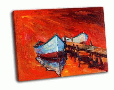 Картина лодки у причала
