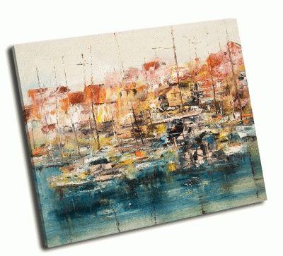 Картина лодки в гавани