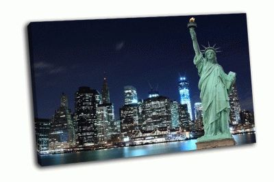 Картина манхэттен и статуя свободы ночью