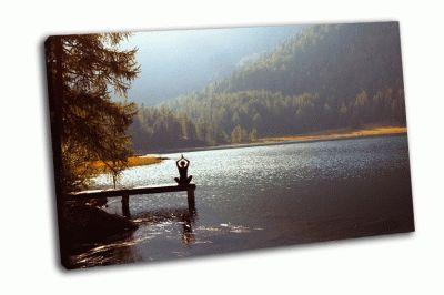 Картина медитация йоги на закате