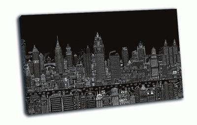 Картина мегаполис на черном фоне