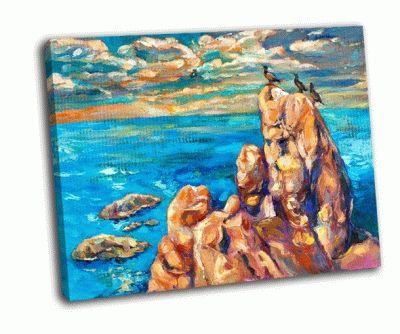 Картина море, скалы и птицы на холсте