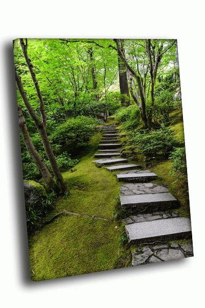 Картина мощеная тропка в лесу
