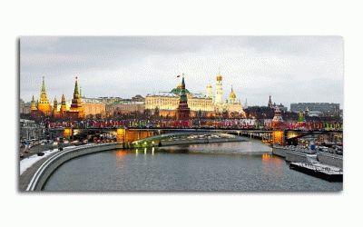 Картина московский кремль и москва река