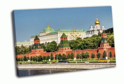 Картина московский кремль и набережная