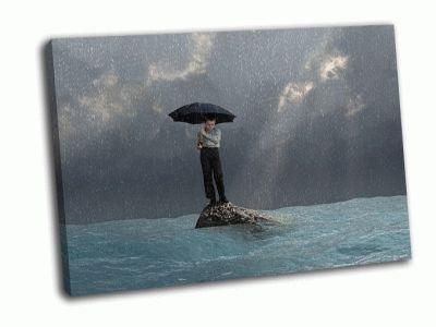 Картина мужчина с зонтиком в наводнение