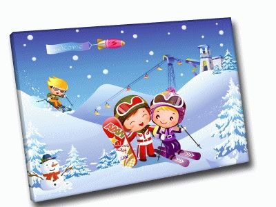Картина на лыжах с гор