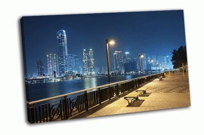 Картина набережная гонконга ночью