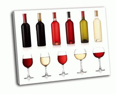 Картина набор белое, розовое и красное вино