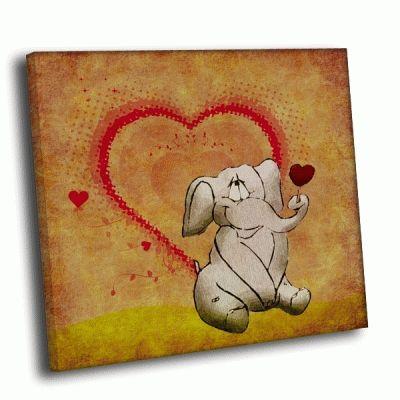 Картина нарисованный слон с сердечком
