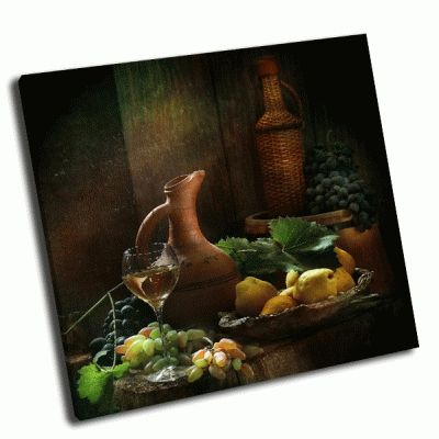 Картина натюрморт бокал, вина и фрукты
