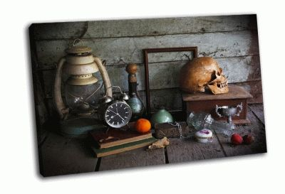Картина натюрморт с черепом человека и будилник