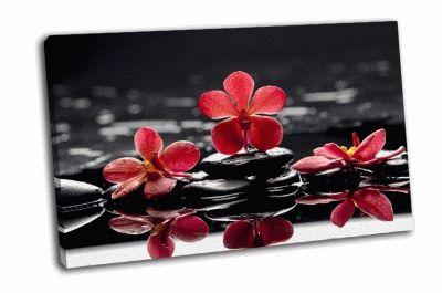 Картина натюрморт с ярко-красными орхидеями