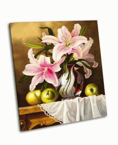 Картина натюрморт ваза с цветами, лимоны