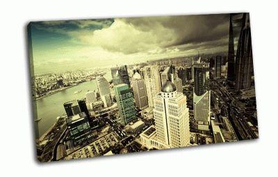 Картина небоскребы в облаках