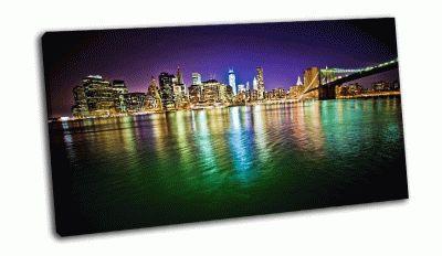 Картина нижний манхэттен и бруклинский мост ночью