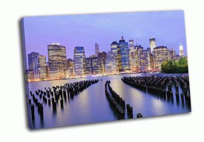 Картина нижний манхэттен ночью