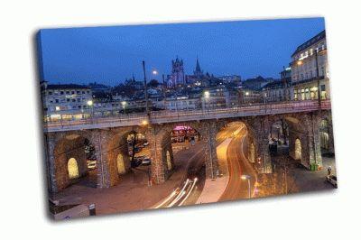 Картина ночная съемка города лозанна