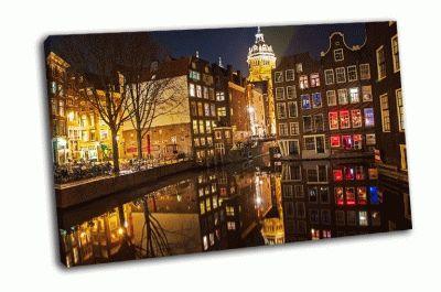 Картина ночная улица амстердама