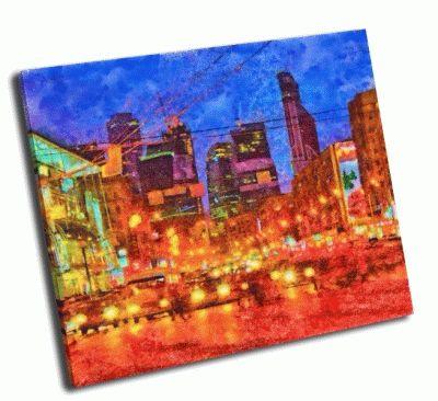 Картина ночной городской пейзаж
