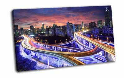Картина ночной hong kong
