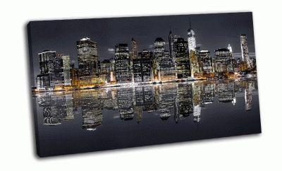 Картина ночной нью-йорк с отражением в воде