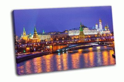 Картина ночной вид на кремль