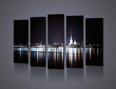 Картина ночной вид на петропавловскую