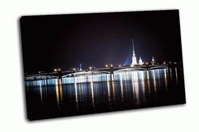 Картина ночной вид на петропавловскую крепость