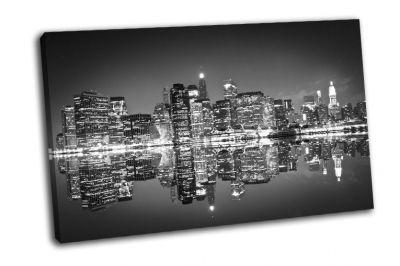 Картина нью-йорк ночью, черно-белая