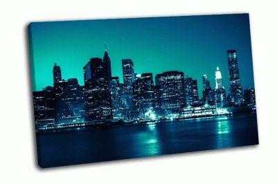 Картина нью-йорк вид на манхэттен ночью