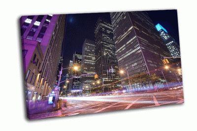Картина офисные здания ночью по 6-й авеню