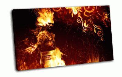 Картина огненная девушка