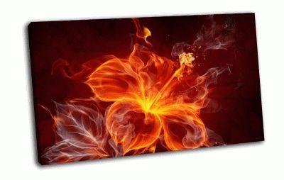 Картина огненный цветок, абстракция