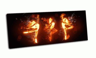 Картина огонь танцоров на черном фоне