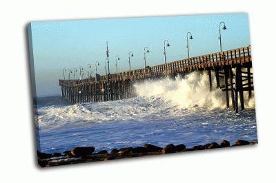 Картина океанские волны возле пирса