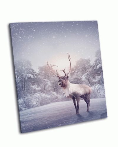Картина олень в снегу