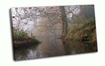Картина осень, дерево, туман